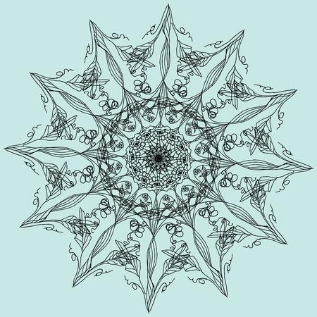 Lacy web. Mandala. Invitation, t-shirt print. Tattoo element. Vector illustration. Vettoriali