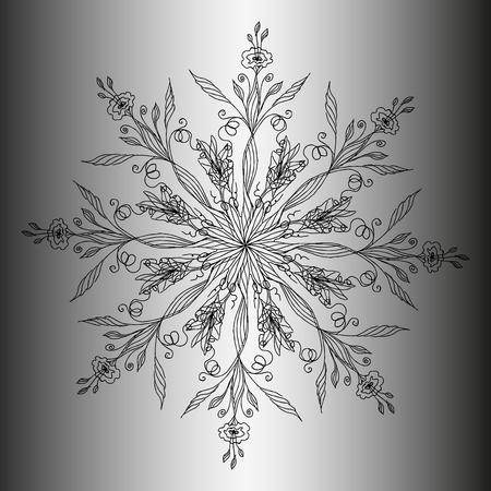 Flower mandala. Round pattern. Ornament. Flowers. Invitation, t-shirt print, wedding card. Tattoo element.Vector illustration. Vettoriali