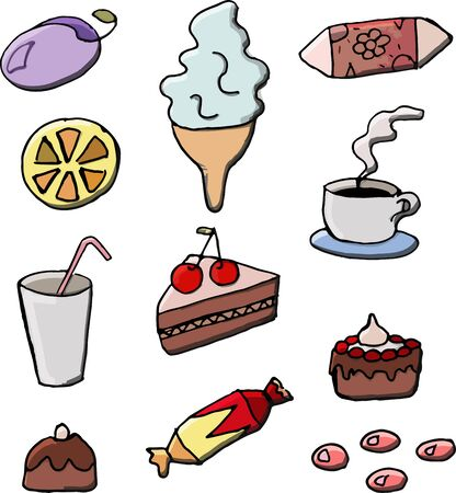 Sweets Set. Coffee, drinks, dessert. Vector illustration of cake, candy and fruit.