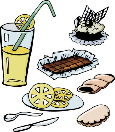 Cafe Set. Cake, chocolate, pastry and drink. Vector illustration.