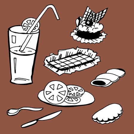 Set cafeteria. Cake, chocolate, pastry and drink. Vector illustration