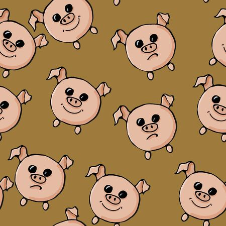 Seamless pattern with pigs. Vector illustration.