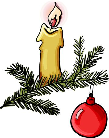 Christmas candle vector illustration.