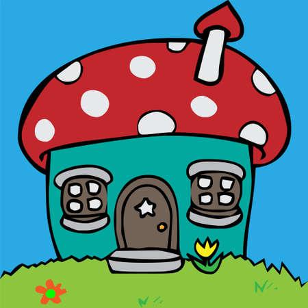 row of houses: Caricatura ilustraci�n vectorial de una casa en forma de seta