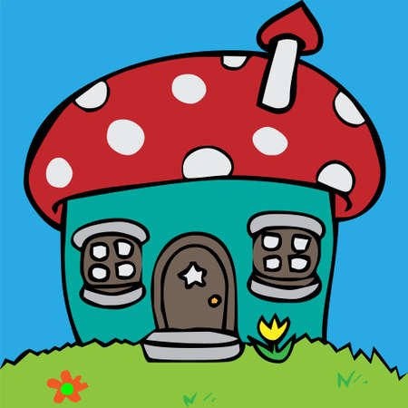 mushroom cloud: Cartoon vector illustration of a house in mushroom shape Illustration