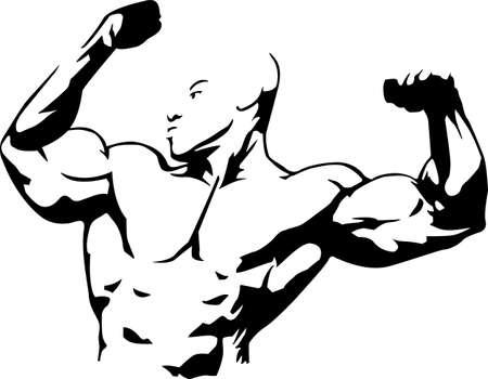 bicep: Ilustraci�n del vector del hombre del m�sculo adecuado para el club de musculaci�n