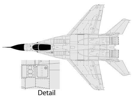 mig: High detailed vector illustration of a modern military airplane