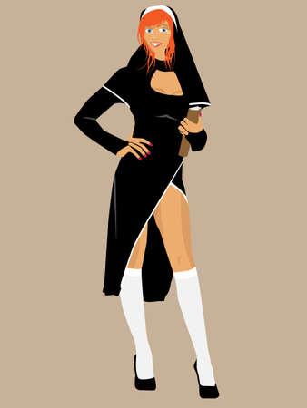 nun: Vector illustration of sexy redhead nun holding a bible