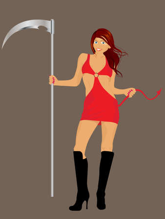 Vector illustration of a redhead sexy girl wearing a red evil costume and holding a scythe. Vector