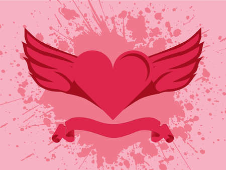heart burn: illustration of a heart with wings on splash background
