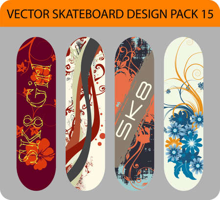 skates: Full editable pack with four skateboard designs Illustration