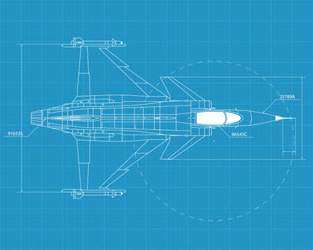 aircraft: High detailed vector illustration of a modern military airplane on blue print paper