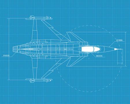 view from the plane: Ilustraci�n de alta vectorial detallado de un moderno avi�n militar en el papel de impresi�n color azul
