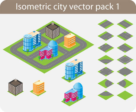 Vector pack of various isometric buildings with tiled elements, ready to use for city building game Stock Vector - 12345610