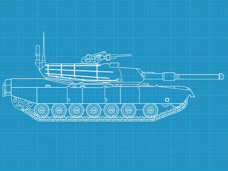 artillery: High detailed vector illustration of a modern tank - side view Illustration
