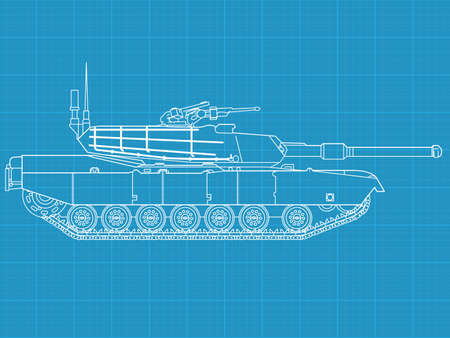 High detailed vector illustration of a modern tank - side view 矢量图像
