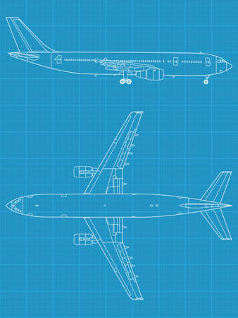civil: high detailed vector illustration of modern civil airplane - top and side view