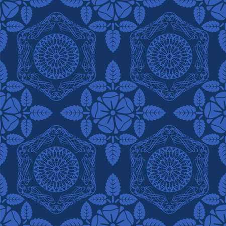 Blue vector seamless pattern with floral motifs Stock Vector - 12498394
