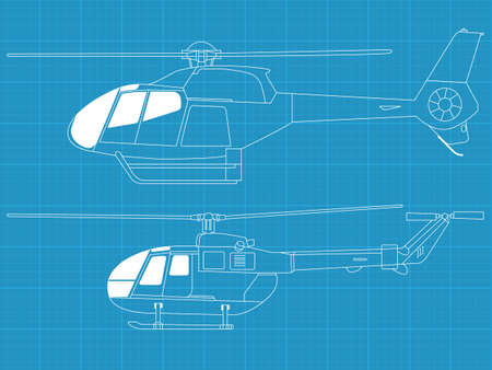 Vector pack of two high detailed helicopters - side view Illustration