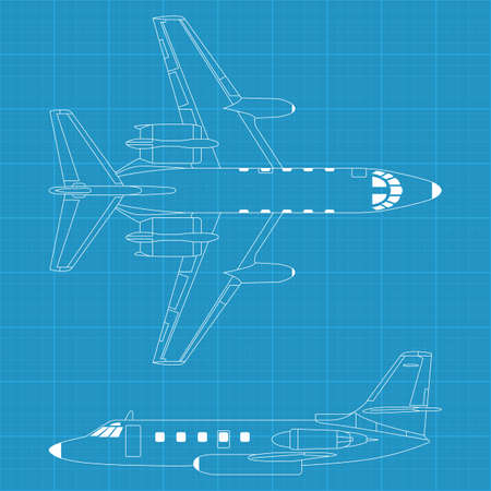 view from the plane: ilustraci�n vectorial de alta detallada de avi�n civil moderna
