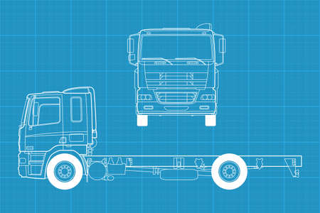 High detailed vector illustration of a truck - front and side view Ilustração