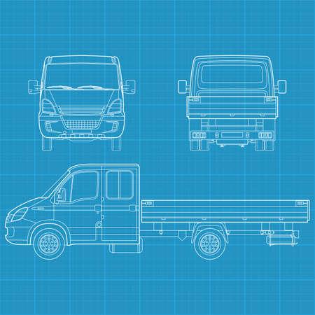 Hohe detaillierte Vektor-Illustration von einem Lastwagen - drei Seitenansicht Standard-Bild - 12498392