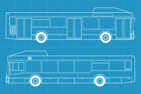 motor coach: High detailed vector illustration of a passenger bus  - left and right side view