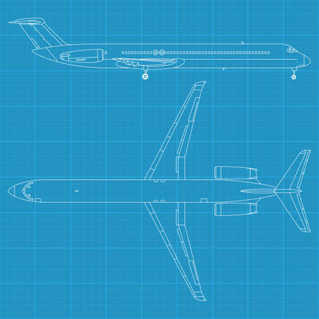 high detailed vector illustration of modern civil airplane - top and side view Stock Vector - 12498369