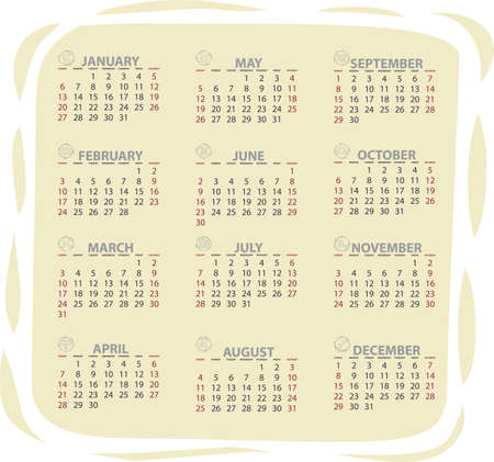 Full editable 2013 vector calendar with zodiac signs Stock Vector - 13105004