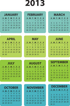Full editable 2013 vector calendar - weeks starts sunday
