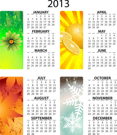 Full editable 2013 vector calendar - with season illustrations Vector