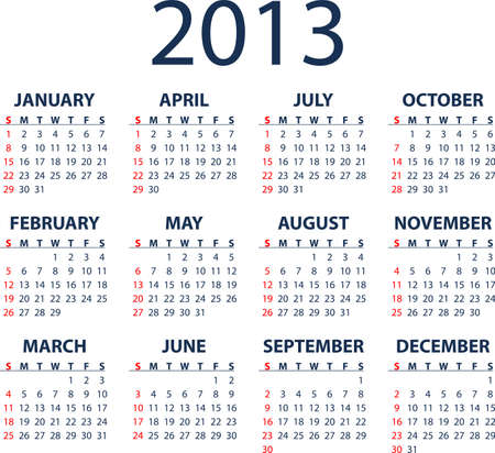 Simple full editable 2013 vector calendar - weeks start Sunday Vector