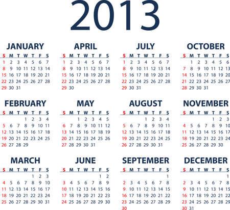Simple full editable 2013 vector calendar - weeks start Sunday