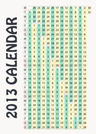 Full editable 2013 vector calendar - vertical months Stock Vector - 13104989
