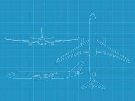 corvette: High detailed vector illustration of modern civil airplane