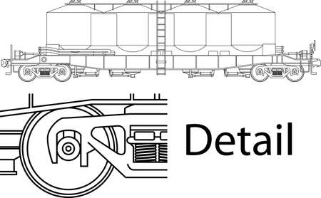 Vector high detailed flour carrying railway wagon - side view  Stock Vector - 16240581