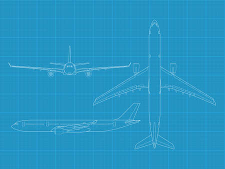 high detailed vector illustration of modern civil airplane - top, front and side view  矢量图像