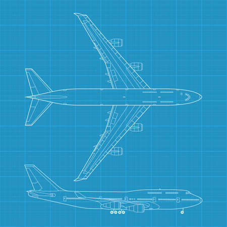 high detailed vector illustration of modern civil airplane - top and side view Vector