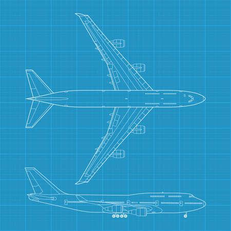 Hoch detaillierte Vektor-Illustration der modernen bürgerlichen Flugzeug - Aufsicht und Seitenansicht Standard-Bild - 13506542