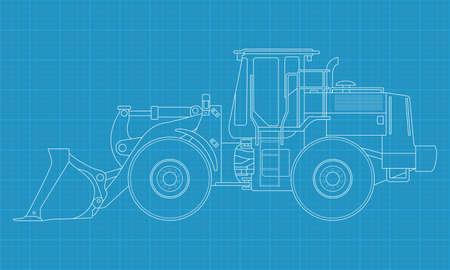 Hohe detaillierte Vektor-Illustration von einem Bulldozer Standard-Bild - 13506543