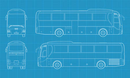 High detailed vector illustration of a passenger bus - four side view Vector