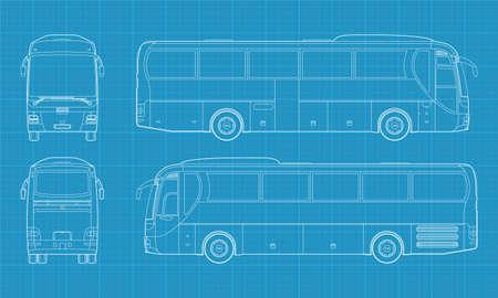 passenger buses: Ilustración de alta vectorial detallado de un autobús de pasajeros - cuatro vista lateral