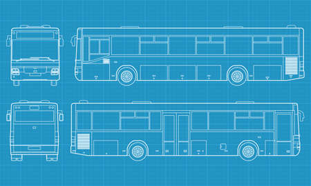 High detailed vector illustration of a passenger bus - four side view 矢量图像
