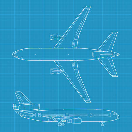 military aircraft: high detailed vector illustration of modern civil airplane - top and side view