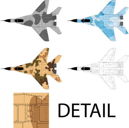 High detailed vector illustration of a modern military airplane top view with three camouflage patterns Vector