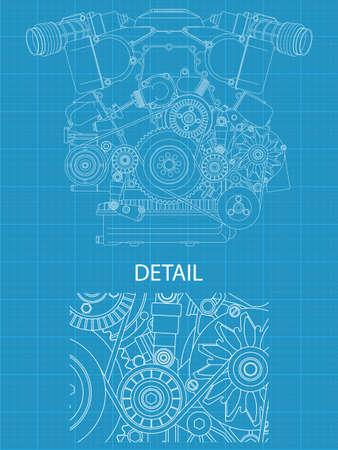 Haute illustration vectorielle détaillée d'un moteur V - vue de face