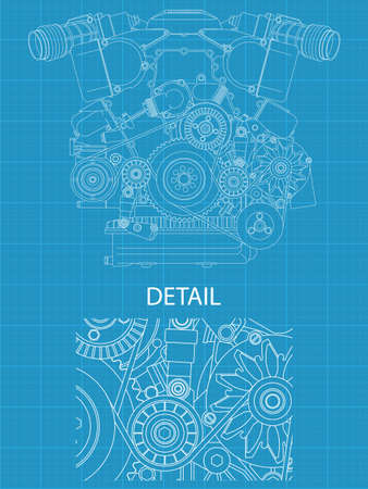 High detailed vector illustration of a V engine - front view Stock Vector - 13506547