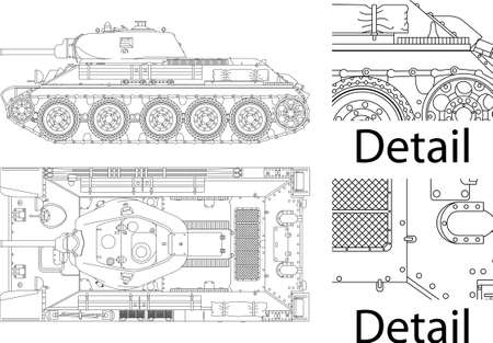 turret: High detailed vector illustration of T34 - WWII Russian tank - side and top view