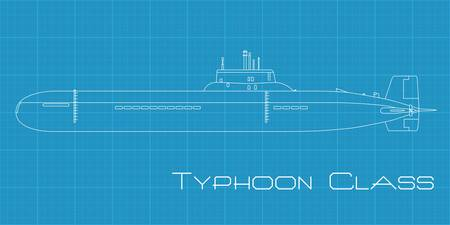 High detailed vector illustration of a Submarine from Typhoon class Vector