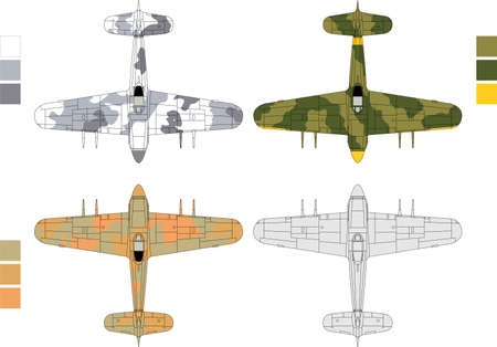 High detailed vector illustration of old military airplane - top view with three camouflage patterns
